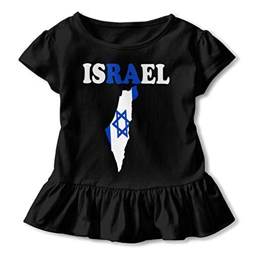 Zi7J9q-0 Short-Sleeve Israel Text with Flag Map T-Shirts for Girls, Kawaii Sweatshirt with Falbala, 2-6T Black