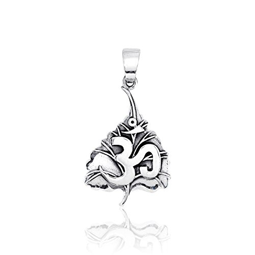 WithLoveSilver 925 Sterling Silver Buddha Om Ohm On Sacred Fig Leaf Pendant Buddhas Fig