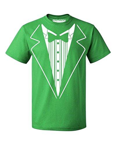 (P&B Tuxedo White Funny Men's T-Shirt, XL, Green )