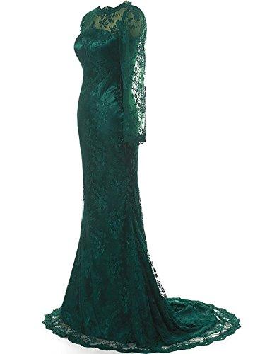 formale sera di abito lungo Pizzo JAEDEN sposa da Madre Donne Manica Abito Vestito Verde lunga OwZBYzq