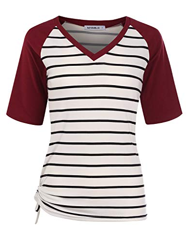 T-shirt Tone Raglan (CLOVERY Women's Raglan Two Tone Design Top Short Sleeve V-Neck Shirt STRIPEWINE XL Plus Size)