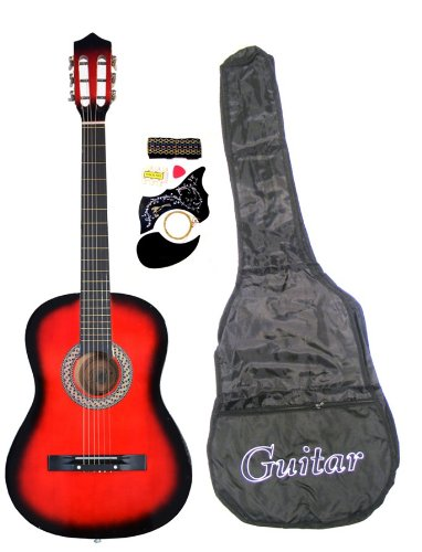 red acoustic guitar - 4