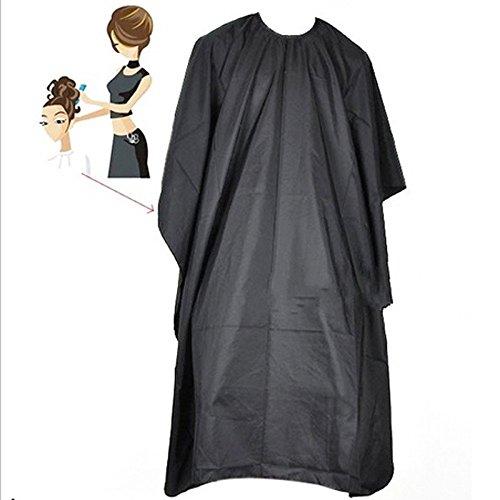 Bonytain Cool taglio dei capelli parrucchiere barbiere di stoffa grande mantella adulto impermeabile, Wrap nero
