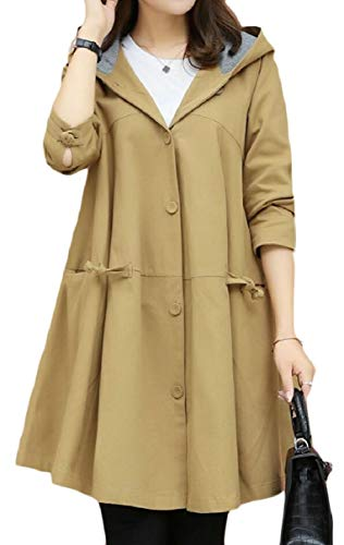 CBTLVSN Women's Casual Hooded Overcoat Swing Single Breasted Jackets Trench Coat Camel XL