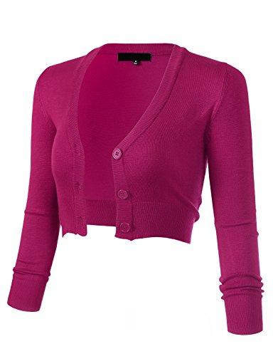 ARC Studio Women's Solid Button Down 3/4 Sleeve Cropped Bolero Cardigans 2XL Magenta CO129 (Cardigan 3/4 V-neck Sleeve)