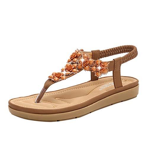 (iPOGP Women's Sandwich Toe Wedding Sandals Rhinestone Bohemian Dress Flip-Flop Elastic Band Shoes(Brown,36))