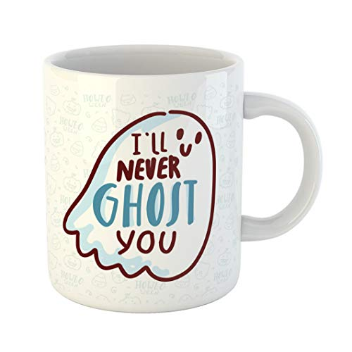 Emvency 11 Ounces Coffee Mug Orange Autumn Pun Halloween Cute Doodles and Lettering Text I Ll Never Ghost You Word Play on Quibble for Bat White Ceramic Glossy Tea Cup With Large C-handle ()