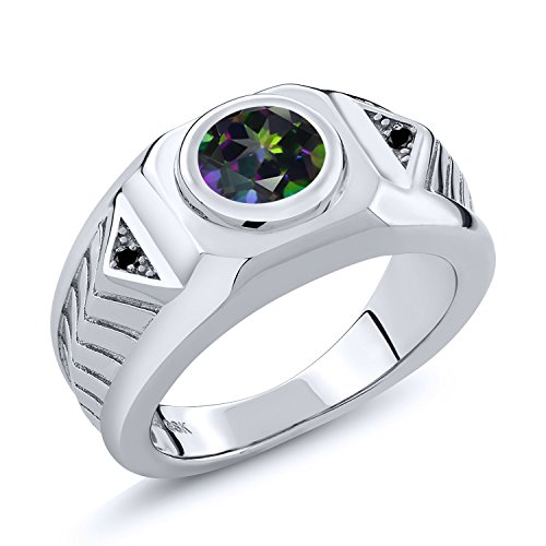2.03 Ct Round Green Mystic Topaz Black Diamond 925 Sterling Silver Men's Ring (Size -