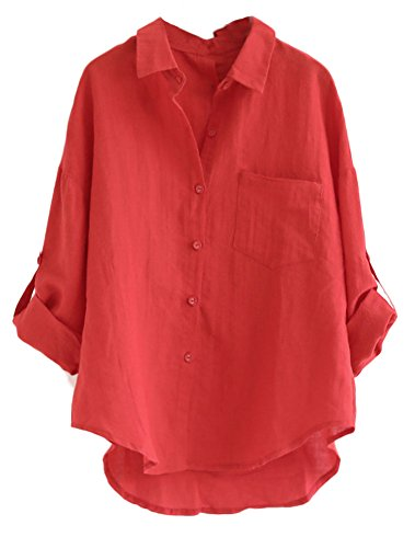 Minibee Women's Linen Blouse High Low Shirt Roll-up Sleeve Tops Red 2XL
