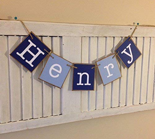 Personalized Name Banner Baby Boy Shower Nursery Newborn Photo Prop Infant Gift Shades of Blue]()
