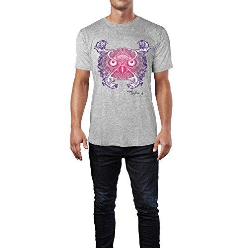 SINUS ART ® Fliederfarbene Eule mit Ornamenten Herren T-Shirts in hellgrau Fun Shirt mit tollen Aufdruck