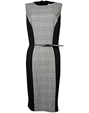 Women's Belted Houndstooth Ponte Sheath Dress