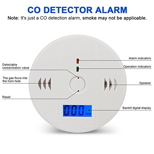 Carbon Monoxide Detector Alarm Pack 2, CO Gas Sensor Detector with Digital Display Alarm Clock Warning for Home (3 AA Battery not Included) (Pack 2) by Dewsshine (Image #1)