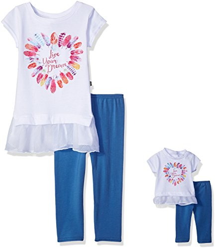 Dollie & Me Big Girls' Tunic With Legging and Matching Doll Outfit, White/Multi, 7 (Dolly And Me Outfits For Girls)