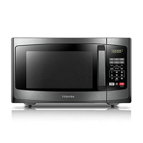 (Toshiba EM925A5A-BS Microwave Oven with Sound On/Off ECO Mode and LED Lighting, 0.9 Cu.ft, Black Stainless)