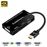 CableDeconn Multiport 4-in-1 HDMI to HDMI DVI 4K VGA Adapter Cable with Audio Output Adapter Converter (Black)