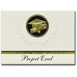 Signature Announcements Project Excel (Milwaukee, WI) Graduation Announcements, Presidential style, Elite package of 25 Cap & Diploma Seal Black & Gold