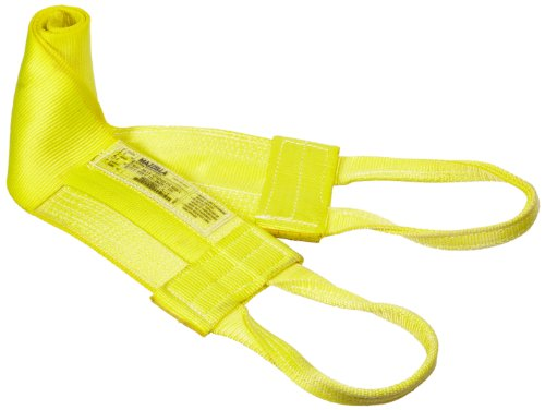 Mazzella WLA1-806 Nylon Attached Eye Web Sling, Wide-Lift, Yellow, 1 Ply, 10' Length, 6