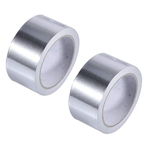 Yardwe 2 PCS 50mm Adhesive Sealing Tape Thermal Resist Fireproof Aluminium Foil Tape(Silver) (Strips Adhesive Moldable)