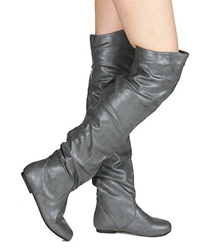 RF RAUM DER MODE Trend-Hi Over-the-Knee Oberschenkel hohe flache Slouchy Welle Low Heel Stiefel Premium Grau Pu