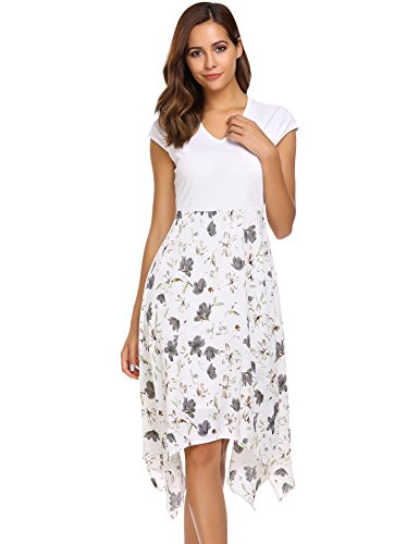 Print Cap V-neck (Zeagoo Women's Floral Print V Neck Cap Sleeve Summer Casual A-line Swing Dress(White,M))