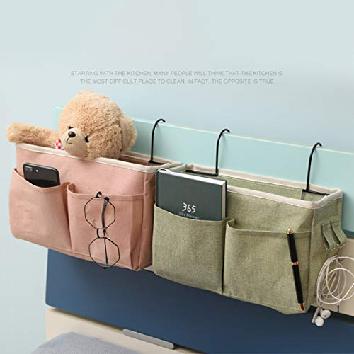 WOLFBUSH Bedside Caddy, 2Pcs Bedside Hanging Storage Bag Bedside Storage Caddy Organizer Holder for Headboards Bunk Beds Hospital Bed Dorm Rooms