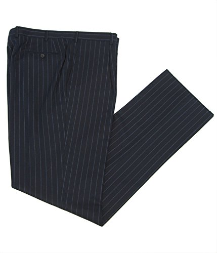 - Pal Zileri Chalk Stripe Pleat Front Dress Pants 3110N Sz IT 56R Navy/Blue