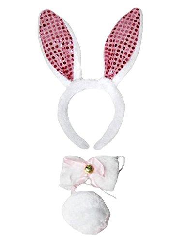 Petitebella Headband Bowtie Tail Unisex Children 3pc Costume (Light Pink Sequins Bunny)