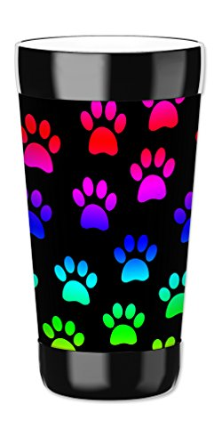 Mugzie 16 Ounce Travel Mug / Drink Cup with Removable Insulated Wetsuit Cover - Paw Prints