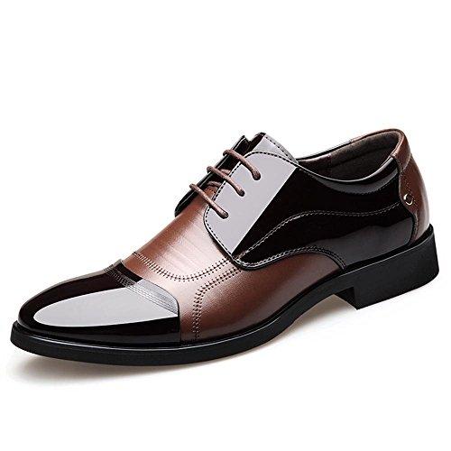 Blivener Men's Pointed Toe Zip Dress Shoes Casual Oxford 05Brown-New EU47 ()