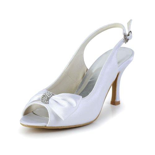 Minishion GYAYL426 Womens Stiletto Heel Slingback White Satin Evening Party Bridal Wedding Shoes Sandals US 7.5