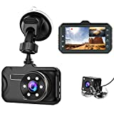 Dash Cam Front and Rear CHORTAU Dual Dash Cam 3 inch Dashboard Camera Full HD 170° Wide Angle Backup Camera with Night...