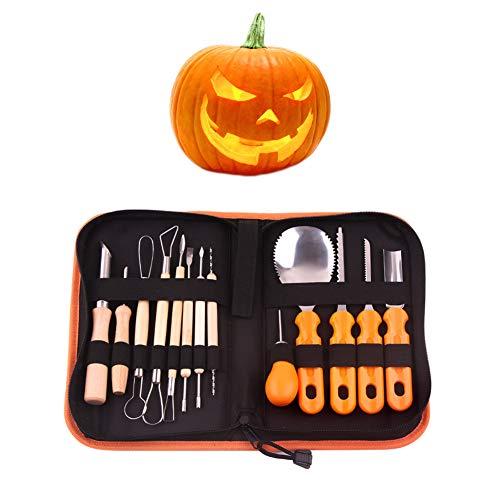 (Bingirl 14pcs/set Pumpkin Carving Tools Kit Stainless Steel Jack-O-Lantern Halloween Sculpting)