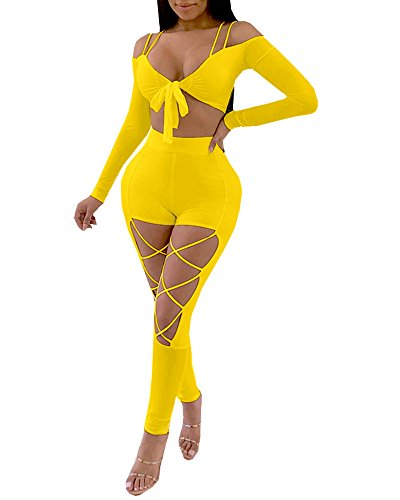 Women's Sexy Clubwear Off Shoulder T-Shirt Crop Top + Criss Cross Pants Jumpsuits 2 Pieces Outfits ()