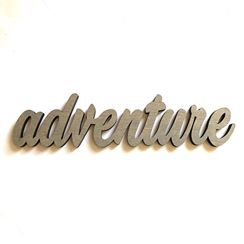 Wood Adventure Cutout Sign Made of Birch Plywood Stained Gray. Entryway Table Decor