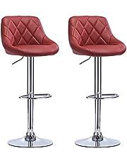 WOLTU Barkrukken Set van 2, 360°Draaistoel Verstelbare Barstoelen in Kunstleer/Fluweel en chroom staal met Rugleuning,#972