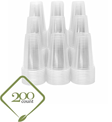 20oz Clear Plastic Disposable Cups - Premium 20 oz (ounces) Crystal Clear PET Cup (No Lids) for Cold Drinks Iced Coffee Tea Juices Smoothies Slush Soda Cocktails Beer Sundae Kids Safe (200, 20oz Cups)