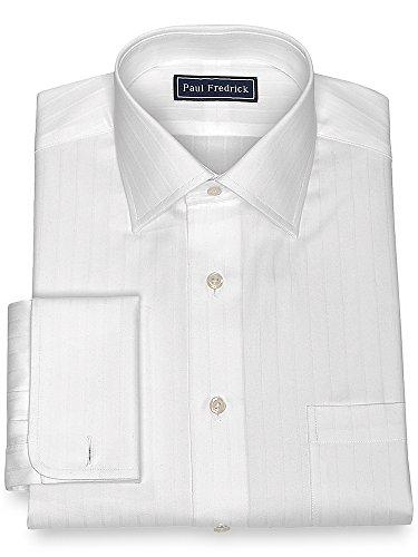 Herringbone Stripe Dress Shirt (Paul Fredrick Men's Cotton Herringbone Stripe Dress Shirt White 16.0/32)
