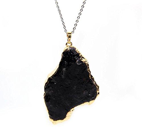 Amandastone Gemstone Natural Black Tourmaline Pendant Necklace 20