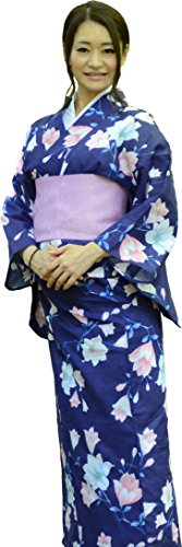 sakura Women Japanese Yukata Pre tied obi belt set with sandals / Indigo blue flower pattern by Sakura