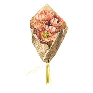 Honey and Me Artificial Coral Poppy Flowers in Newspaper Bundle 15 Inch Floral Bouquet Decorative Picks Set of 3 2