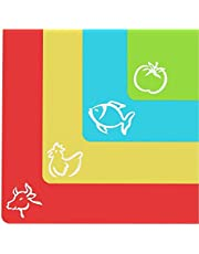"""Extra Thick Flexible Cutting Mats with Food Icons &""""EZ-Grip"""" Back (Set of 4)"""