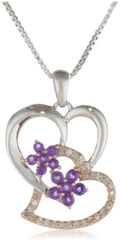 Sterling Silver with 14k Pink Gold Plated Amethyst and Diamond Double Hearts Pendant Necklace (.15 cttw, I-J Color, I2-I3 Clarity), 18""