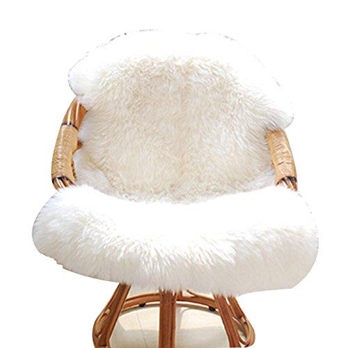 CRAVOG Teppich Schaffell Stuhlabdeckung Schlafzimmer Faux Matte Sitz Pad Plain Pelz Plain Flauschigen Teppiche Waschbar (weiß)