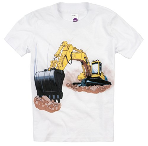 Shirts That Go Little Boys' Yellow Excavator T-Shirt 4 White Design Excavator