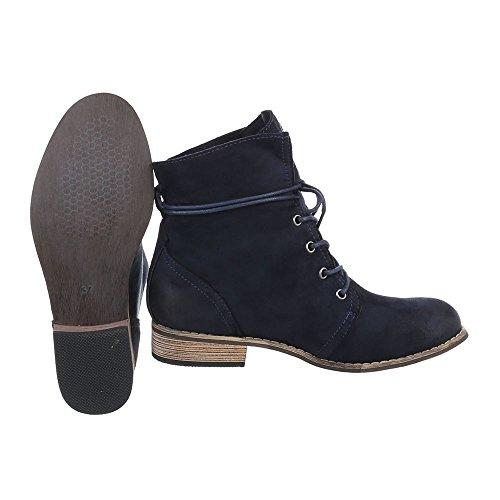 Ital-Design - botas estilo motero Mujer azul oscuro