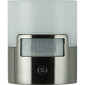 GE 30815 Ultra Brite Motion-Activated LED Light, 40 Lumens, Soft White, Night Light, Energy Efficient, Ideal for Hallway, Entry, Stairs, Bathroom, Garage, Utility Room, Brushed Nickel
