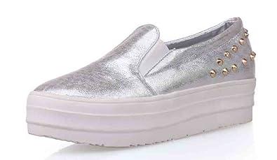 2612149300f SFNLD Women s Stylish Studded Rivets Round Toe Slip On Platform Loafers  Sneakers Silver 10.5 B(