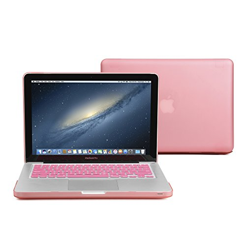 GMYLE Plastic Hard Shell Case & Keyboard Cover Only Compatible Old MacBook Pro 13 Inch (A1278 CD-ROM), Release Early 2012/2011/2010/2009/2008, Pink