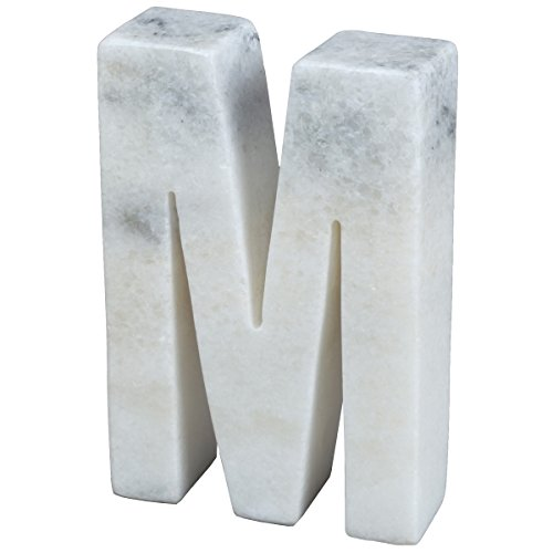 Creative Home Natural Marble Stone Letter M Bookends, Organizer, Paper Weight, 4